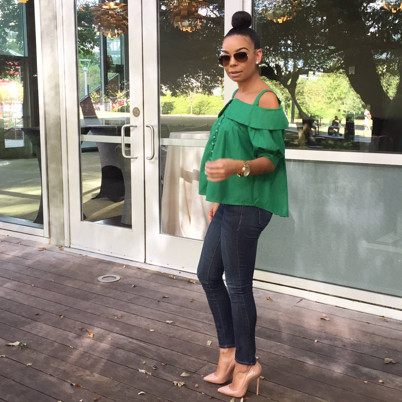 Green Off the Shoulder Shirt Denim and Christian Louboutin Pigalle Pumps