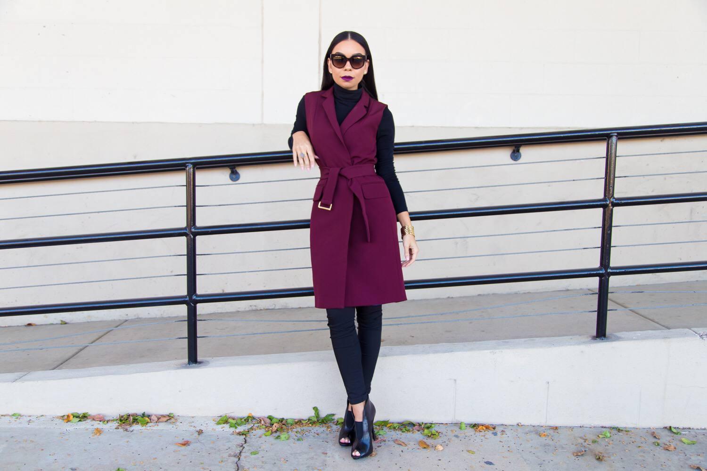Burgundy Topshop Belted Vest | Style Guide