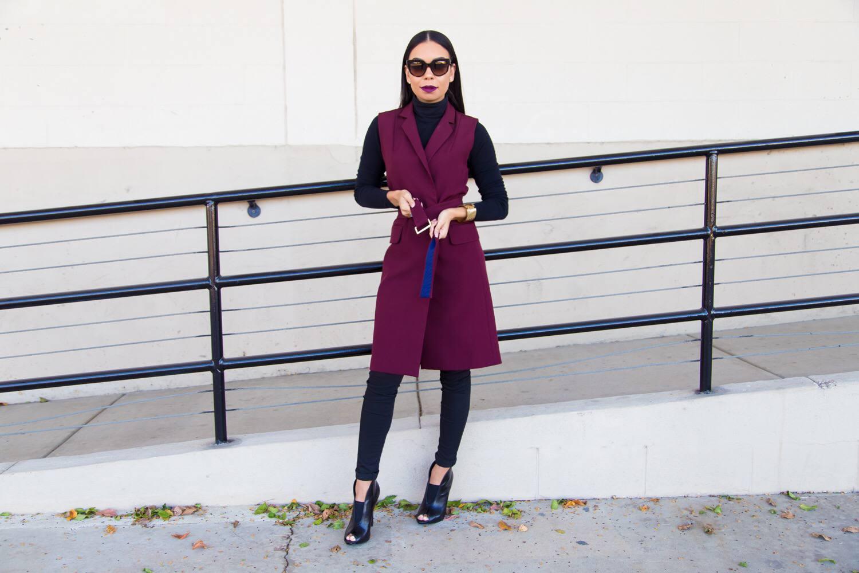 Burgundy Topshop Belted Vest   Style Guide